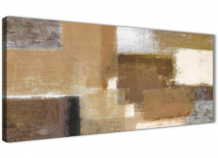 Brown Cream Beige Painting Bedroom Canvas Pictures Accessories - Abstract 1387 - 120cm Print