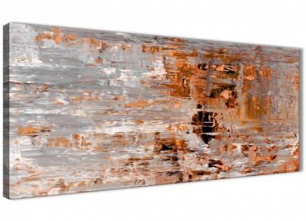 Burnt Orange Grey Painting Bedroom Canvas Wall Art Accessories - Abstract 1415 - 120cm Print