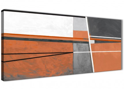 Burnt Orange Grey Painting Living Room Canvas Wall Art Accessories - Abstract 1390 - 120cm Print