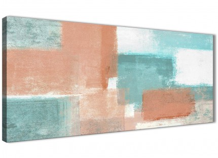 Coral Turquoise Bedroom Canvas Wall Art Accessories - Abstract 1366 - 120cm Print
