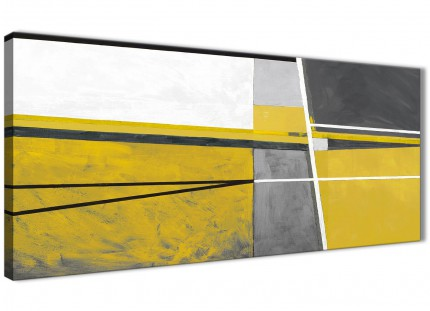 Mustard Yellow Grey Painting Living Room Canvas Wall Art Accessories - Abstract 1388 - 120cm Print