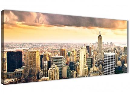 New York Manhattan Skyline - Canvas Art Pictures - Landscape - 1201 - 120cm Wide Print