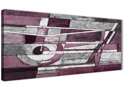 Plum Grey White Painting Living Room Canvas Wall Art Accessories - Abstract 1408 - 120cm Print