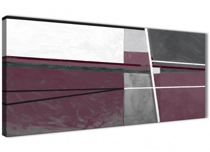 Plum Purple Grey Painting Living Room Canvas Wall Art Accessories - Abstract 1391 - 120cm Print