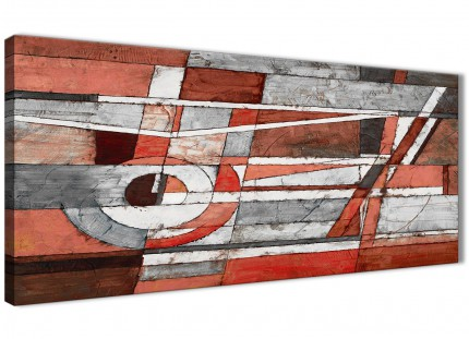Red Grey Painting Bedroom Canvas Wall Art Accessories - Abstract 1401 - 120cm Print