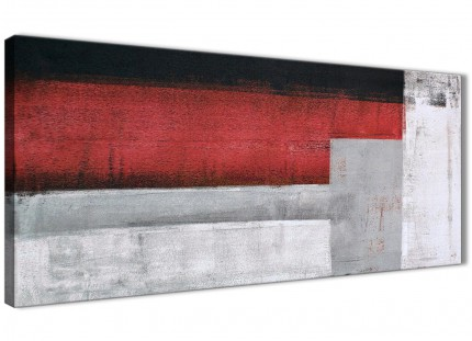 Red Grey Painting Living Room Canvas Pictures Accessories - Abstract 1428 - 120cm Print