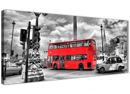 Red London Bus - Street Scene Cityscape Bedroom Canvas Wall Art Accessories - 1210 - 120cm Print