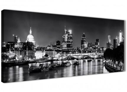 River Thames London Skyline Canvas Art Pictures - Cityscape - 1430 Black White Grey - 120cm Wide Print