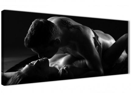 Romantic Nude Couple Erotica Canvas Art Pictures - 1444 Black White - 120cm Wide Print