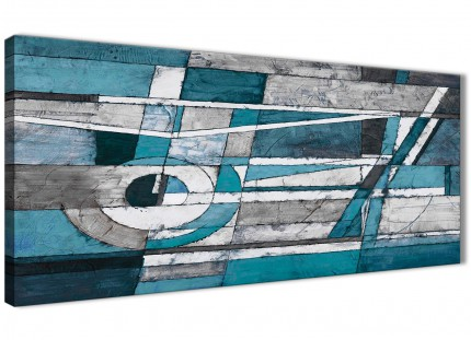 Teal Grey Painting Living Room Canvas Pictures Accessories - Abstract 1402 - 120cm Print