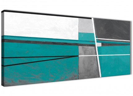 Teal Grey Painting Living Room Canvas Wall Art Accessories - Abstract 1389 - 120cm Print