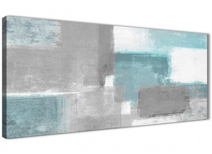 Teal Grey Painting Living Room Canvas Wall Art Accessories - Abstract 1377 - 120cm Print