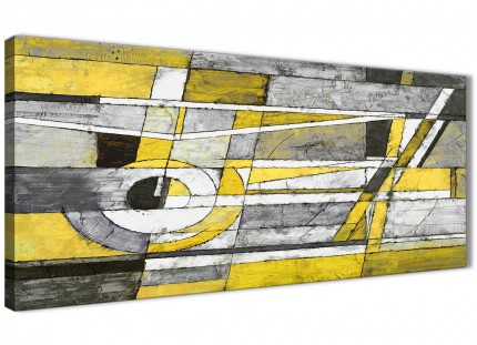 Yellow Grey Painting Living Room Canvas Wall Art Accessories - Abstract 1400 - 120cm Print