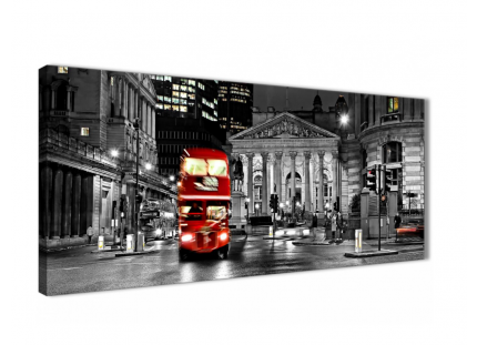Red London Bus Street Black White City Canvas
