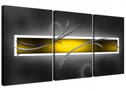 Modern Yellow Grey White Abstract Canvas - Set of 3 - 125cm - 3259