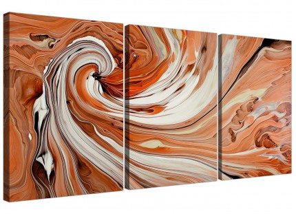 Modern Orange White Swirls Contemporary Abstract Canvas - 3 Set - 125cm - 3264