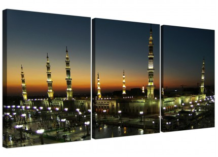 Modern Al Masjid an Nabawi - Prophets Mosque Canvas - Set of 3 - 125cm - 3230