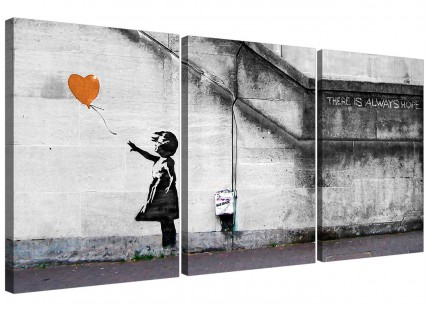 Modern Banksy Balloon Girl Orange Heart Hope Canvas - 3 Set - 125cm - 3225