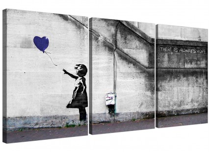 Modern Banksy Balloon Girl Blue Heart Hope Canvas - 3 Panel - 125cm - 3226