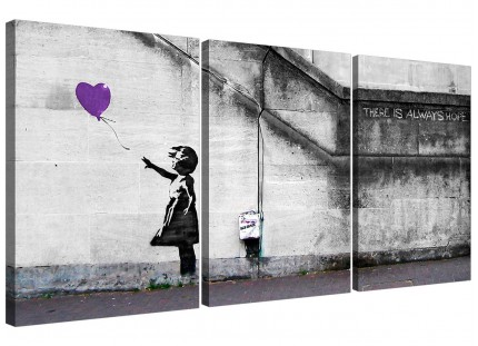 Modern Banksy Balloon Girl Purple Heart Hope Canvas - Set of 3 - 125cm - 3223