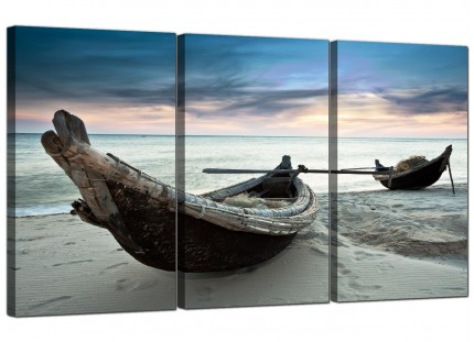 Modern Thailand Fishing Boats Sunset Beach Canvas - Set of 3 - 125cm - 3107