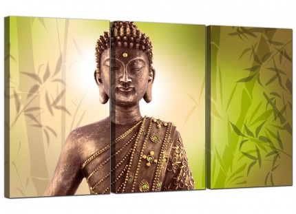 Modern Abstract Buddha Lime Green Bamboo Zen Canvas - Set of 3 - 125cm - 3100