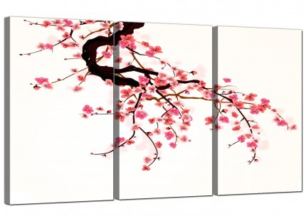 Japanese Cherry Blossom Tree Pink Cream Floral Canvas - 3 Part - 125cm - 3081