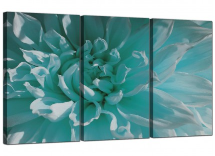 Modern Teal Blue Chrysanthemum Flower Floral Canvas - Set of 3 - 125cm - 3103