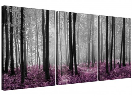 Modern Black Grey Plum Purple Forest Trees Landscape Canvas - 3 Set 125cm - 3240
