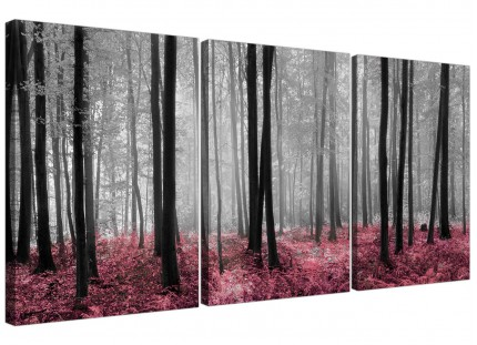 Modern Black White Pink Grey Forest Woodland Trees Canvas - 3 Set - 125cm - 3241