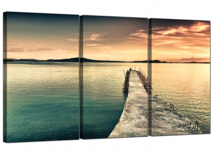 Modern Sunset Jetty Pier Blue Lake View Landscape Canvas - 3 Set - 125cm - 3108