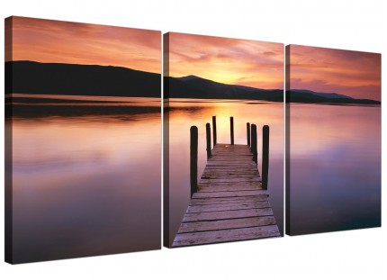 Sunset Jetty Derwent Water Lake Purple Landscape Canvas - 3 Set - 125cm - 3214