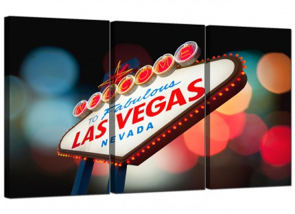 Modern Las Vegas Strip Sign Gambling City Canvas - Set of 3 - 125cm - 3126