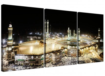 Modern Islamic Canvas - Mecca at Night - Hajj Canvas - 3 Set - 125cm - 3190
