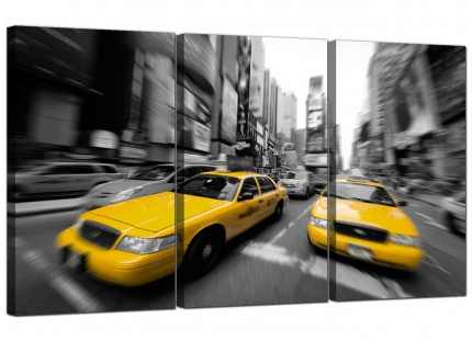 Modern Black White Yellow Grey New York Taxi City Canvas - 3 Set - 125cm - 3028
