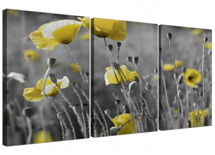 Modern Yellow Grey Poppy Flower - Poppies Floral Canvas - 3 Set - 125cm - 3258