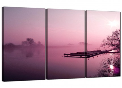 Plum Coloured Sunset Jetty Lake View Landscape Canvas - Set of 3 - 125cm - 3120