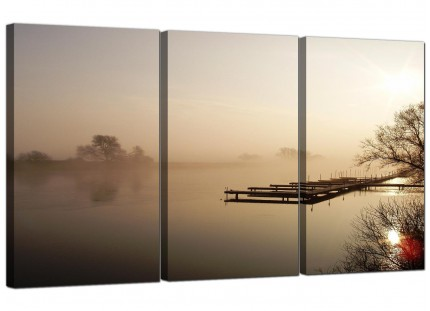 Modern Sepia Brown Sunset Jetty Sunset Landscape Canvas - 3 Set - 125cm - 3117