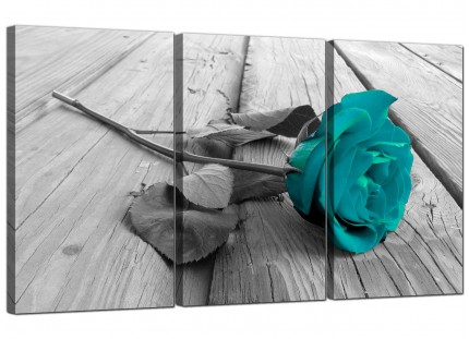 Modern Teal Rose Grey Black White Flower Floral Canvas - 3 Panel - 125cm - 3037