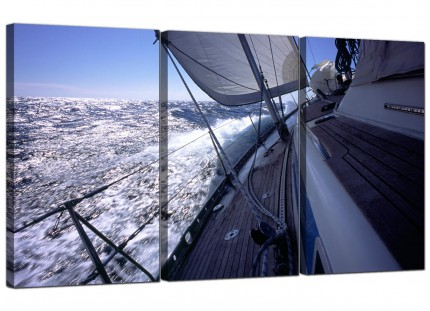 Modern Sailing Yacht Boat Ocean Waves Landscape Canvas - Set of 3 - 125cm - 3105