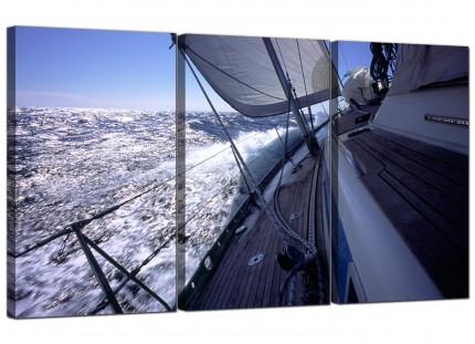 Modern Sailing Yacht Boat Ocean Waves Landscape Canvas - Set of 3 - 125cm - 3105