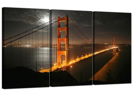 San Francisco Golden Gate Bridge Night Cities Canvas - Set of 3 - 125cm - 3038