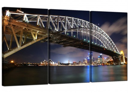 Modern Sydney Harbour Bridge & Opera House City Canvas - Set of 3 - 125cm - 3041