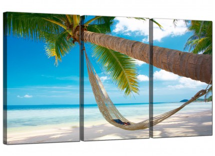 Modern Tropical Blue Palm Tree Scene Beach Canvas - Set of 3 - 125cm - 3039