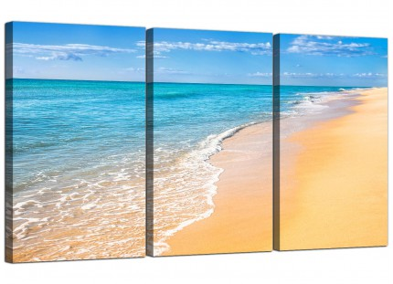 Modern Panoramic Tropical Blue Seascape Beach Canvas - 3 Part - 125cm - 3199