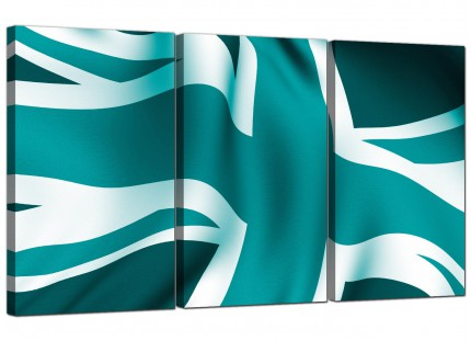 Modern Teal Green Blue Union Jack Flag Abstract Canvas - 3 Part - 125cm - 3010