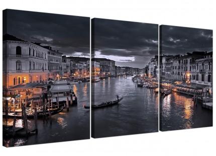 Modern Venice Italy Gondola Black White Cityscape Canvas - 3 Set - 125cm - 3229