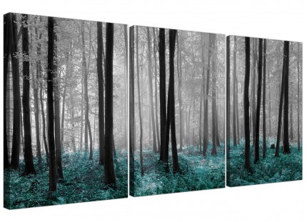 Teal Grey White Forest Woodland Trees Landscape Canvas - Set of 3 - 125cm - 3242