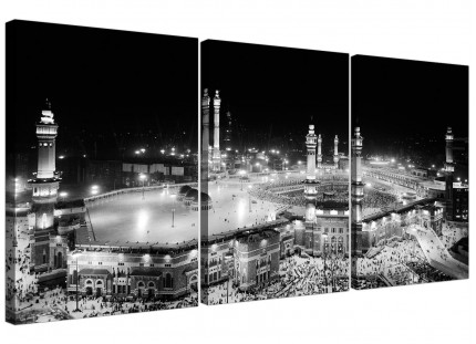 Black and White Islamic Mecca Temple - Religious Multi Set of 3 Canvas