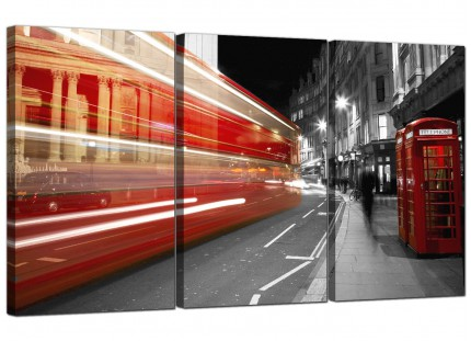 Black White Red London Bus Street Scene Cityscape Canvas - 3 Part - 125cm - 3127